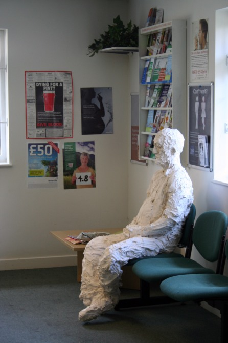 Waiting, plaster, life-size