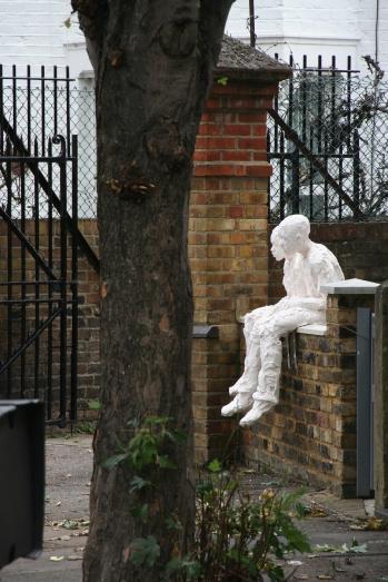 Sitting Around, life-size, plaster