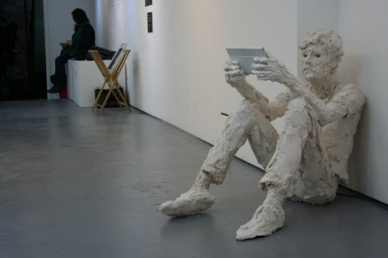 Exhibition, plaster and tablet, life-size
